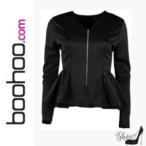 Boohoo Jackets & Coats - Boohoo: Black Freya Frill Peplum Blazer